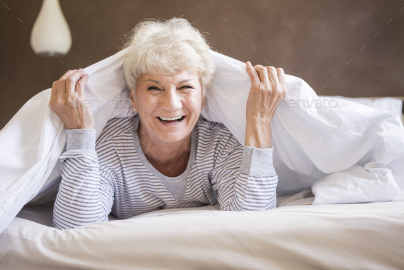 Funny time in the bed - Stock Photo - Images