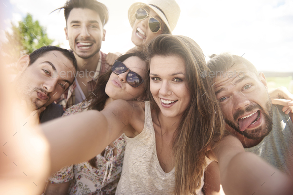 Selfie during the summer day - Stock Photo - Images