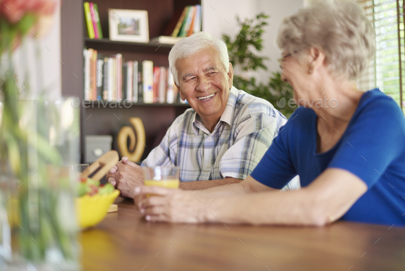 Pleasant talk after great breakfast - Stock Photo - Images