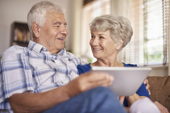 Technology is nothing difficult for this couple - Stock Photo - Images