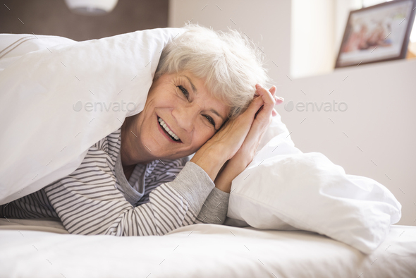 My duvet is great for sleeping - Stock Photo - Images