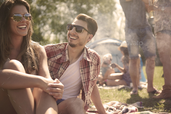 Summer party time with friends - Stock Photo - Images