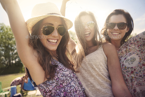 Three best friends on holiday together - Stock Photo - Images