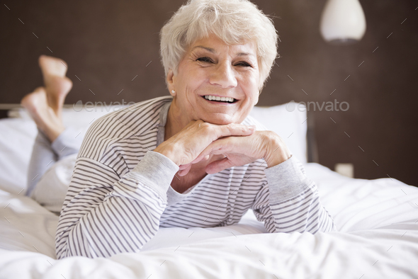Good mood after the night in comfortable bed - Stock Photo - Images