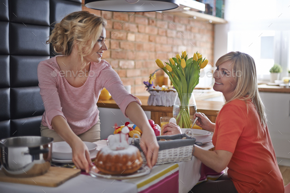 Do you wanna taste a Easter cake? - Stock Photo - Images