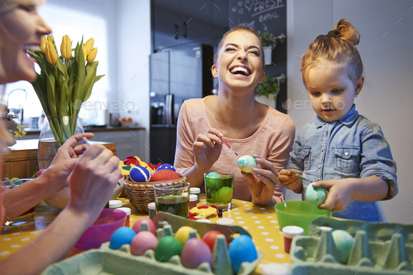 Happy time during prepare for Easter time - Stock Photo - Images