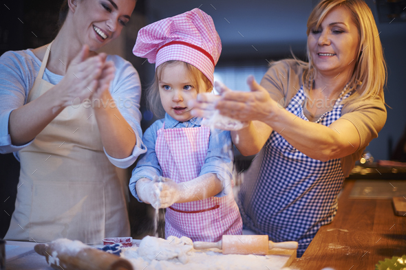 Play with flour during baking cake - Stock Photo - Images