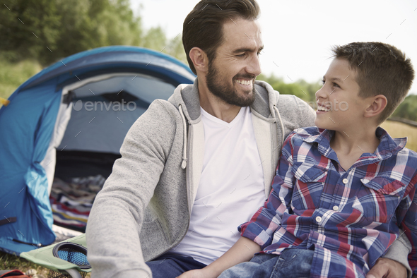 I can talk with my father about everything - Stock Photo - Images