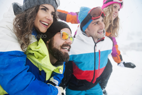 Take us on the top of the ski slope - Stock Photo - Images