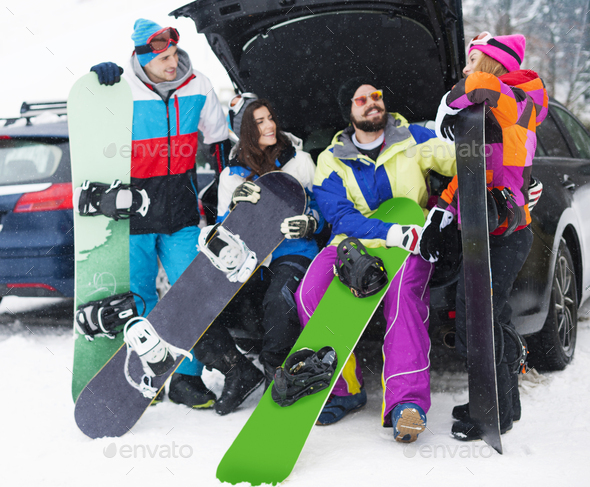 Group of friends at the mountain range - Stock Photo - Images