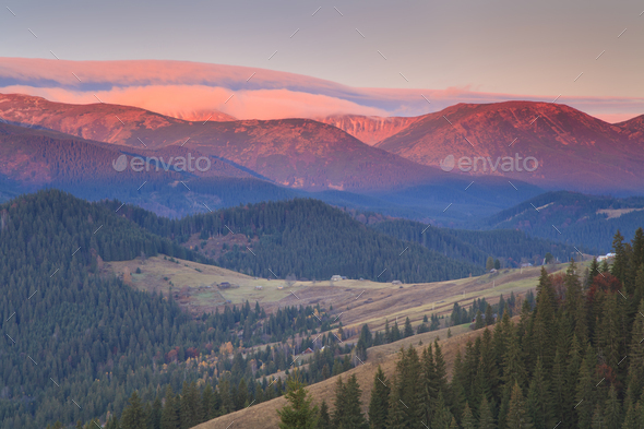 Sunrise in the mountains in autumn - Stock Photo - Images