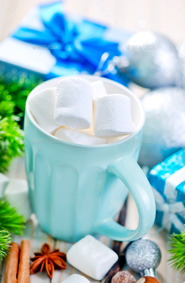 Hot drink with marshmallows - Stock Photo - Images