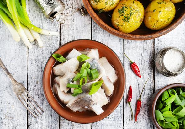herring with potato - Stock Photo - Images