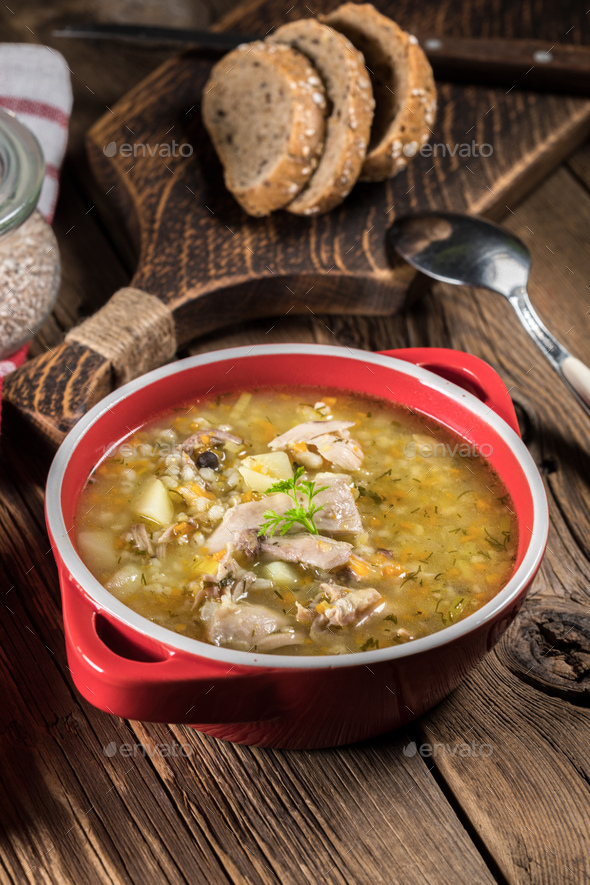 Barley soup with vegetables and chicken. - Stock Photo - Images