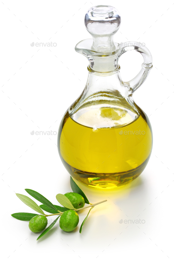 extra virgin olive oil with green olives and leaves isolated on white background - Stock Photo - Images