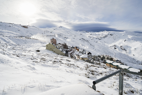 Ski resort of Sierra Nevada in winter, full of snow - Stock Photo - Images