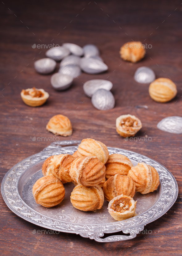 Cookies nuts with condensed milk. - Stock Photo - Images