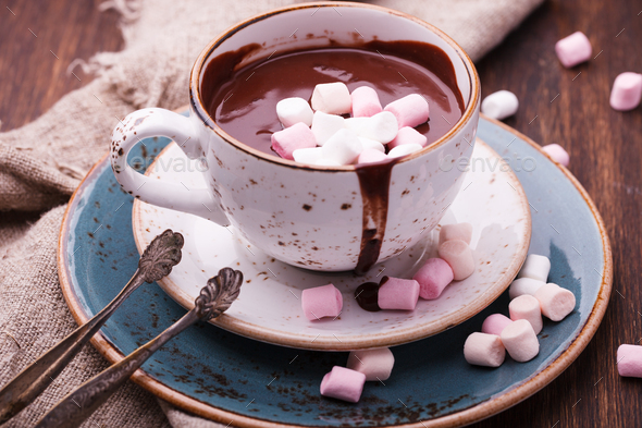 Hot chocolate with marshmallow. - Stock Photo - Images