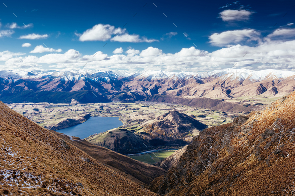 NZ Landscape near the Remarkables in Queenstown - Stock Photo - Images