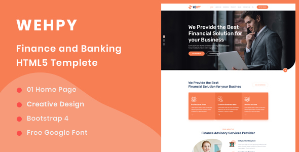 Wehpy - Multipurpose Finance and Banking HTML5 Template by ThemeStok