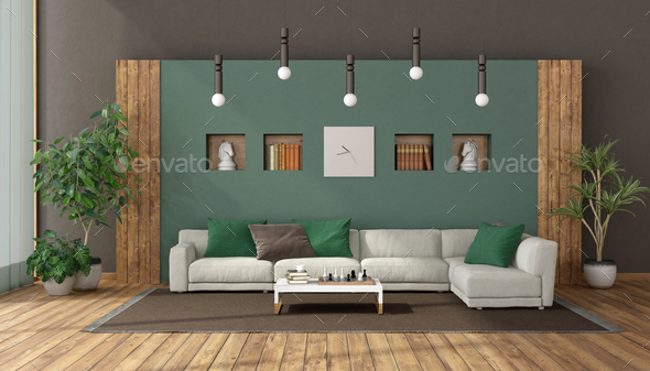Elegant living room with white sofa against green wall