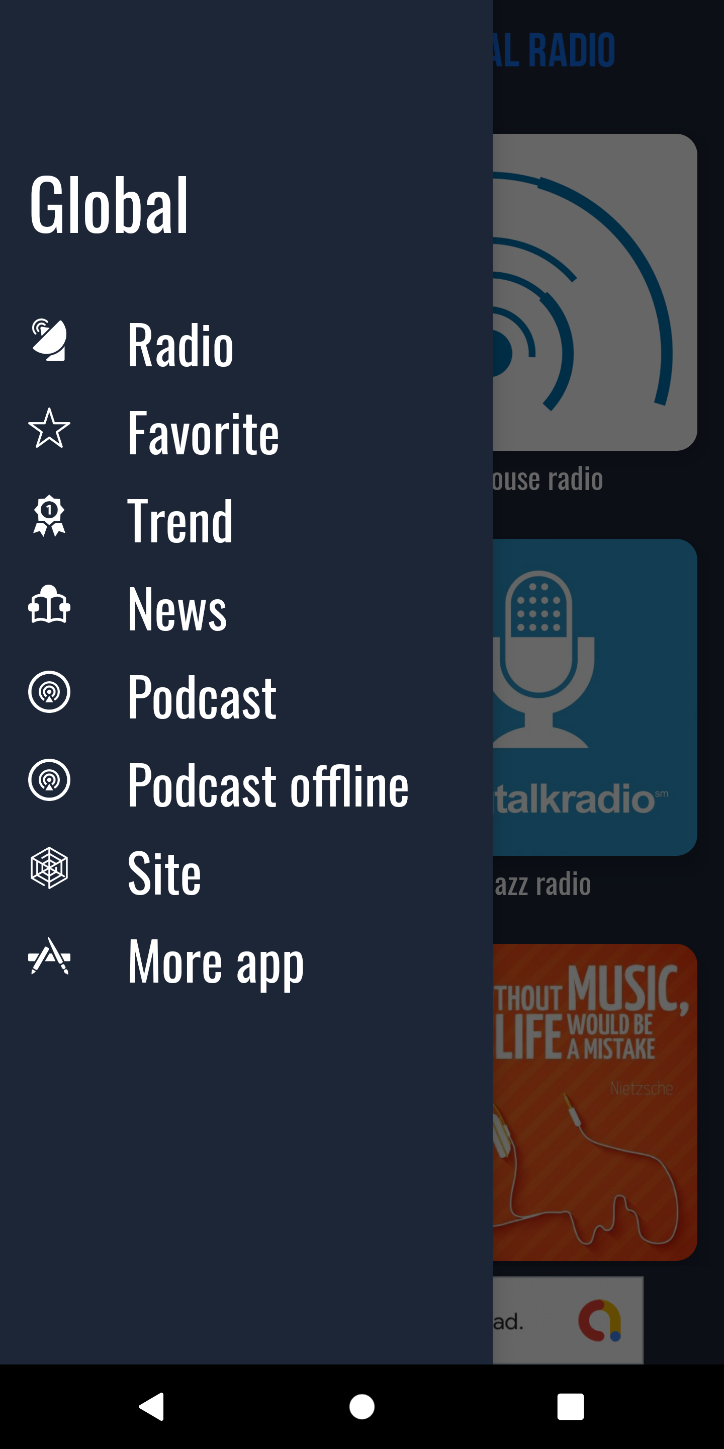Global - radio, news, podcast + backend (android)