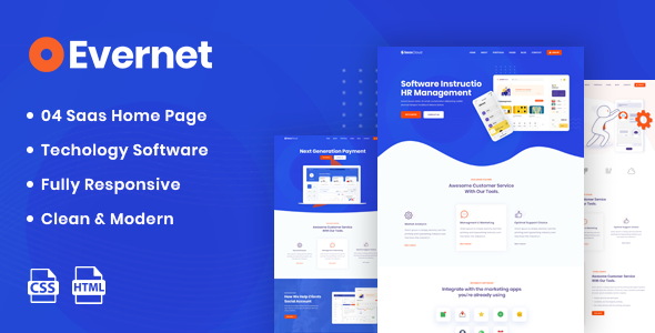 Evernet - HTML5 Template for Software, Startup & Agency