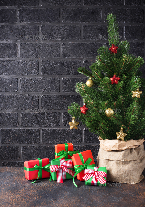 Christmas tree with gift boxes - Stock Photo - Images