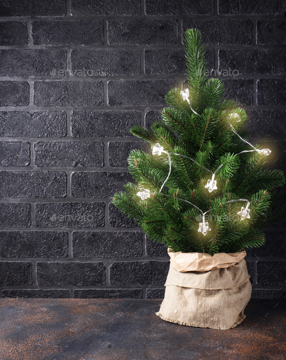 Christmas tree with garland light - Stock Photo - Images