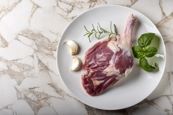 One raw uncooked duck leg on plate - Stock Photo - Images