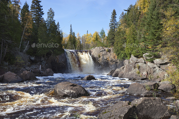 Waterfall on the North Shore of Minnesota in the fall - Stock Photo - Images