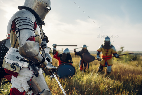 Medieval knights fight, great battle - Stock Photo - Images