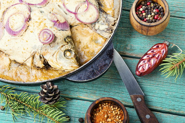 Baked fish for christmas - Stock Photo - Images