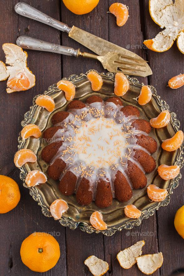 Tangerine cake.Christmas Baking. - Stock Photo - Images