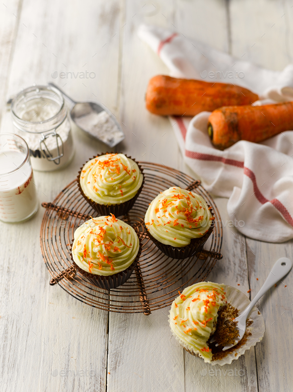 Carrot Cup Cake Top View - Stock Photo - Images