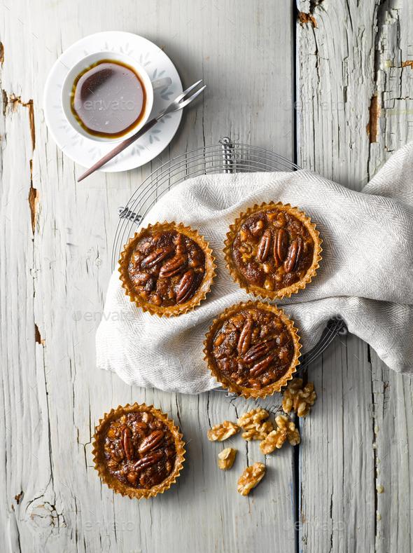 Walnut Pecan Pie Top View - Stock Photo - Images