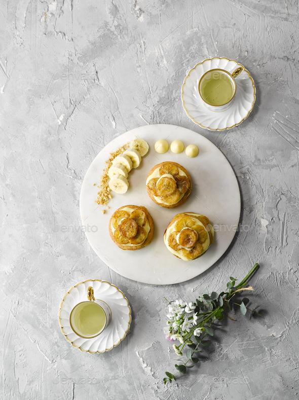 Banana Tart Top View - Stock Photo - Images