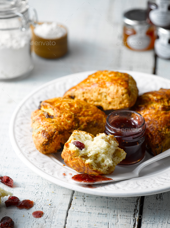 Cranberry Scone Close up - Stock Photo - Images