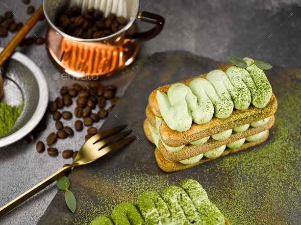 Matcha Tiramisu with Coffee - Stock Photo - Images