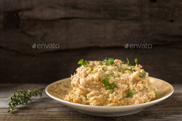 Cream made from mashed chicken breast - Stock Photo - Images