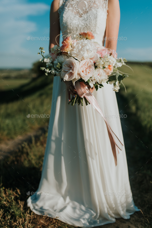 Bride with bouquet - Stock Photo - Images
