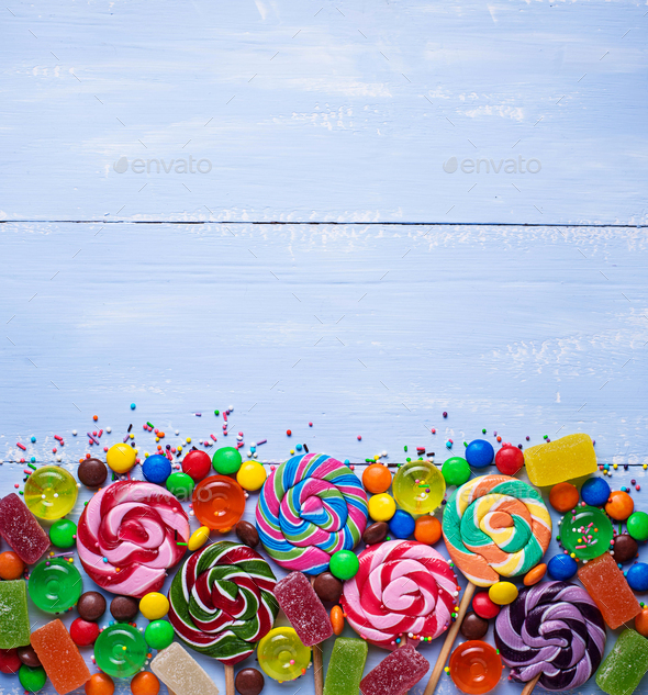 Assortment of colorful candies and lollipops - Stock Photo - Images