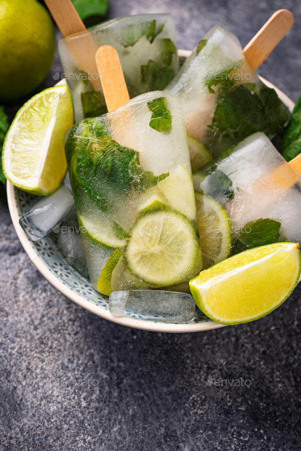 Mojito cocktail popsicle with mint, lime and rum - Stock Photo - Images
