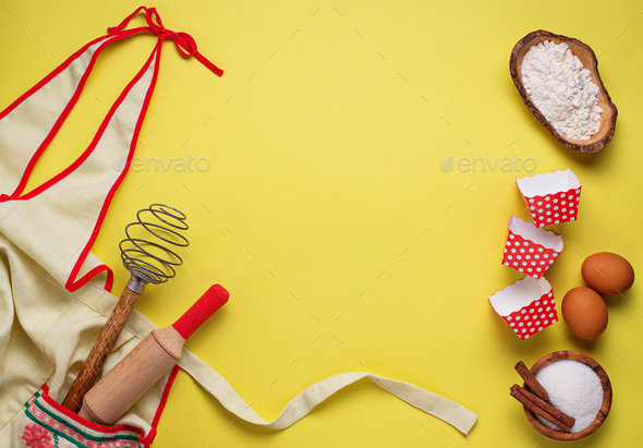 Ingredients for baking  on yellow background - Stock Photo - Images