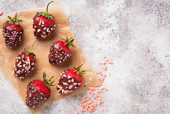 Strawberry in chocolate, delicious dessert - Stock Photo - Images