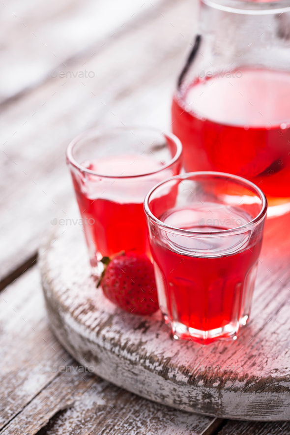 Strawberry liquor in a glasses - Stock Photo - Images