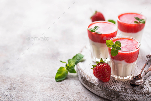 Delicious dessert panna cotta with strawberry - Stock Photo - Images