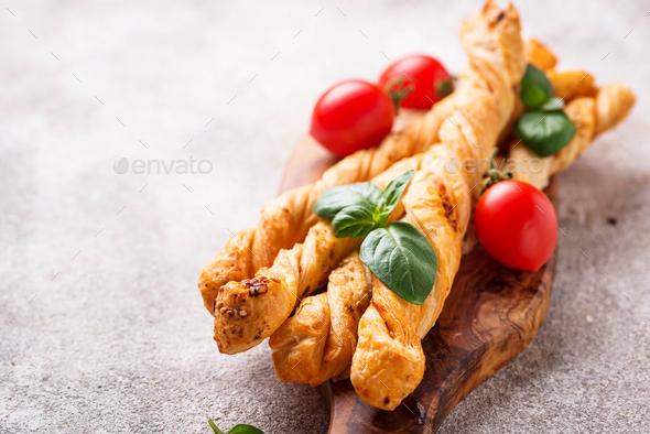Italian antipasto  grissini with tomato - Stock Photo - Images