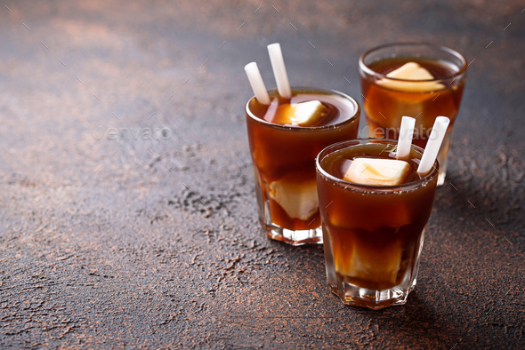 Iced coffee with frozen milk - Stock Photo - Images