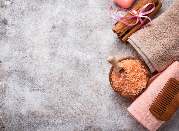 Soap, sea salt and towel - Stock Photo - Images